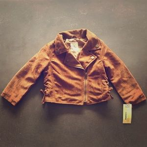 Genuine Kids from OshKosh brown suede moto jacket